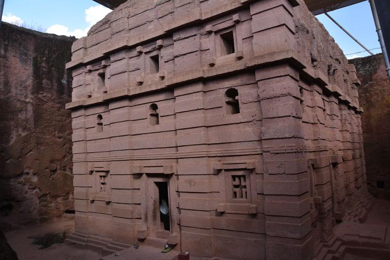 Detalle de una de las iglesias de Lalibela