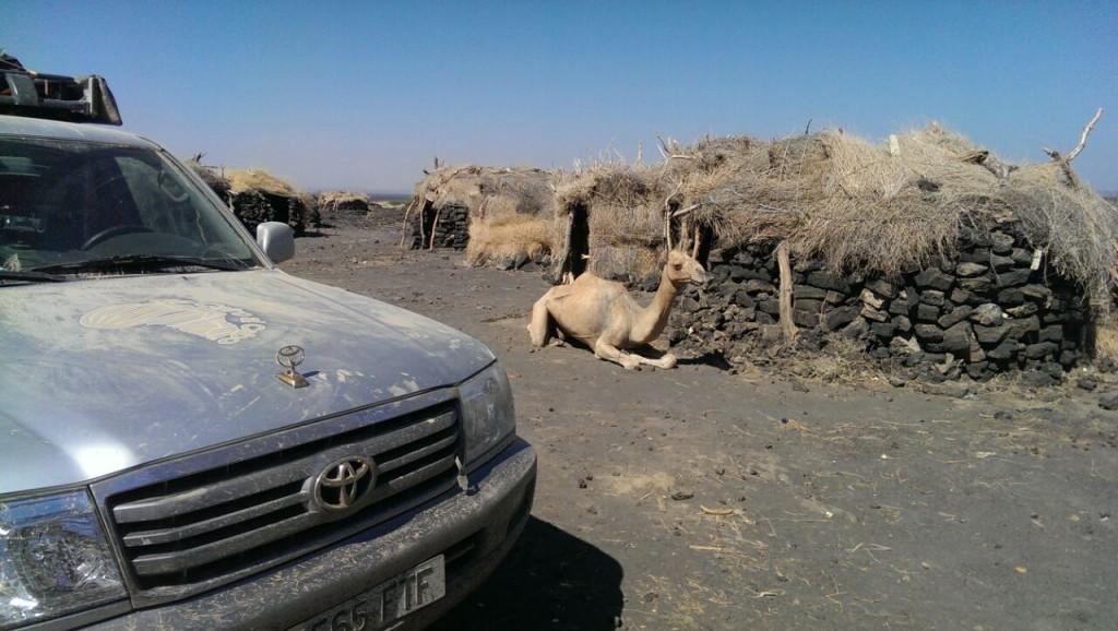 Mi choza de descanso y mi camello esperándome